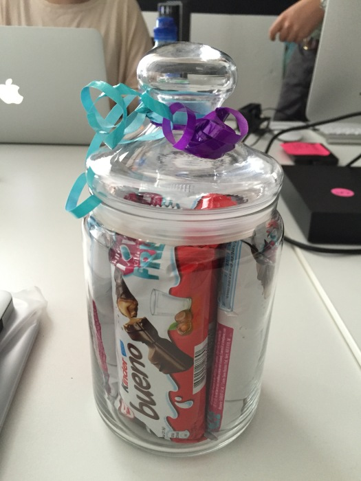 My welcome gift,  a whole jar full of Kinder bueno's!